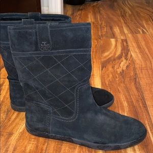 Black suede Tory Burch boots